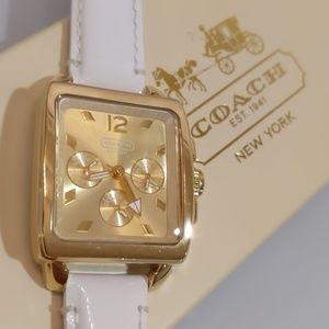 Coach boyfriend women's watch gold white